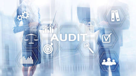 Audit business and finance concept. nalysis Annual Financial Statements, Analyze return on investment. Mixed media abstract background Stock Photo