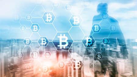 Bitcoin, Blockchain concept on server room background.