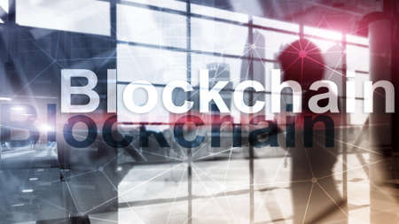 Blockchain technology Concept on server background. Data encryption.