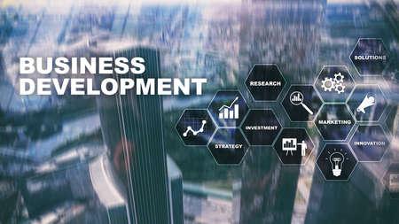 Business Development Startup Growth Statistics. Financial Plan Strategy Development Process Graphic Concept. Banco de Imagens