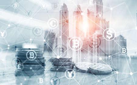 Bitcoin Euro Dollar Finance Web Money concept. oins on virtual screen double exposure.