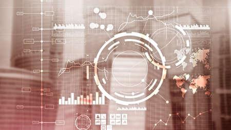 Financial dashboard with business intelligence BI. Blurred megapolis Banco de Imagens