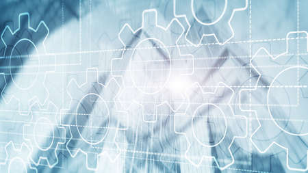 3D Gears mechanism, digital transformation on abstract background Banco de Imagens