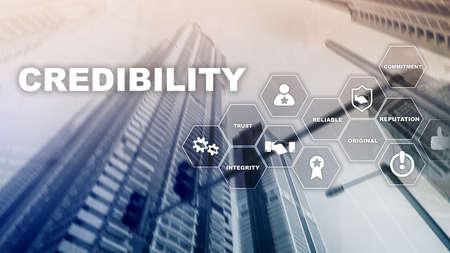 Corporate credibility improvement concept. Multiple exposure, mixed media background Banco de Imagens