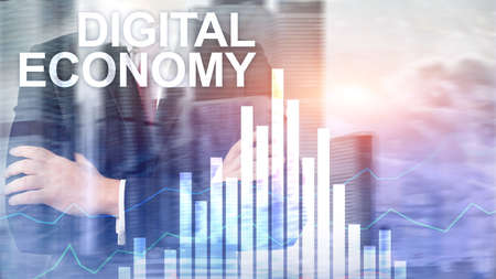 DIgital economy, financial technology concept on blurred background. Banco de Imagens