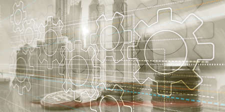 Business technology internet concept double exposure gears abstract background Banco de Imagens