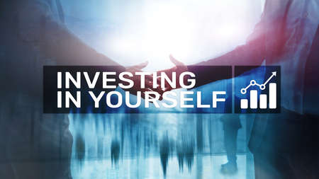 Invest in yourself. Personal development and education concept on abstract blurred background. Banco de Imagens