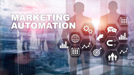 Marketing Automation Software Technology Process System Internet Business concept. Mixed media background.