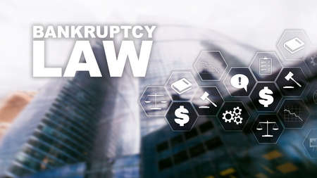 Bankruptcy law concept. Insolvency law. Judicial decision lawyer business concept. Mixed media financial background. Imagens