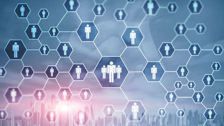 HR, Human Resources, Recruitment, Organisation structure and social network concept. Banco de Imagens