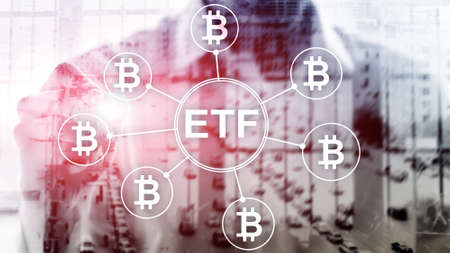 Bitcoin ETF cryptocurrency trading and investment concept on double exposure background. Banco de Imagens
