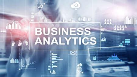Business analytics concept on double exposure background. Banco de Imagens