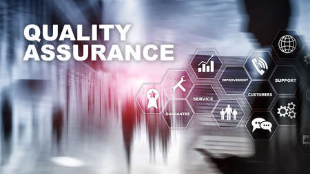 The Concept of Quality Assurance and Impact on Businesses. Quality control. Service Guarantee. Mixed media Banco de Imagens