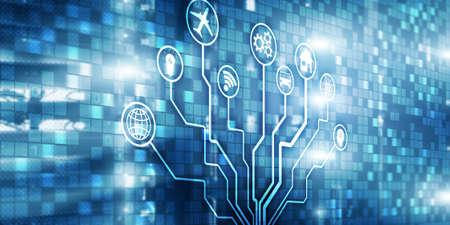 IOT. DIgitalization, Digital disruption background matrix information technology and internet concept.