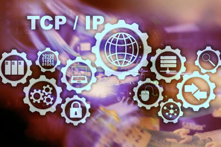 Tcp ip networking. Transmission Control Protocol. Internet Technology concept.