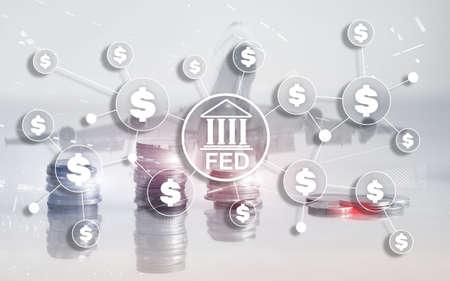FED federal reserve system usa banking financial system business concept. Banco de Imagens