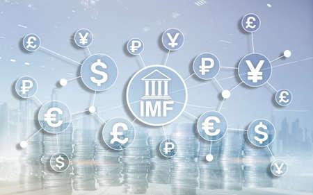 IMF International monetary fund global bank organisation. Business concept on blurred background Фото со стока