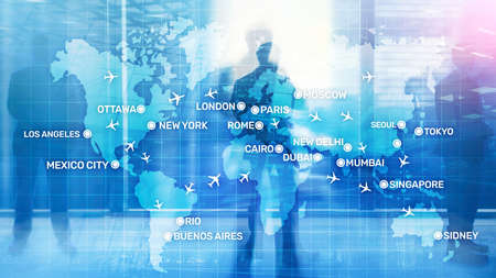 Global Aviation Abstract Background with planes and city names on a map. Business Travel Transportation concept. Stock Photo - 128709199