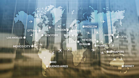 Global Aviation Abstract Background with planes and city names on a map. Business Travel Transportation concept Stock Photo