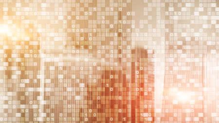 Digital code on blur city background. Abstract Binary code. Фото со стока