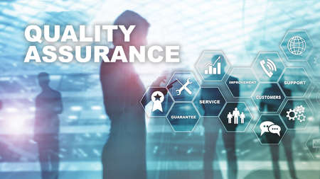 The Concept of Quality Assurance and Impact on Businesses. Quality control. Service Guarantee. Mixed media Фото со стока