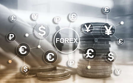 Forex trading currency exchange business finance diagrams dollar euro icons on blurred background 스톡 콘텐츠