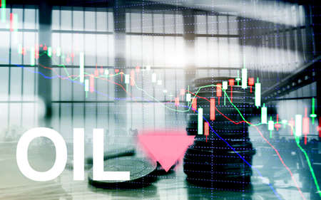 Oil trend down. Candle graph chart Oil barrels and a financial chart on abstract business background. Price oil down. Barrel arrow down.