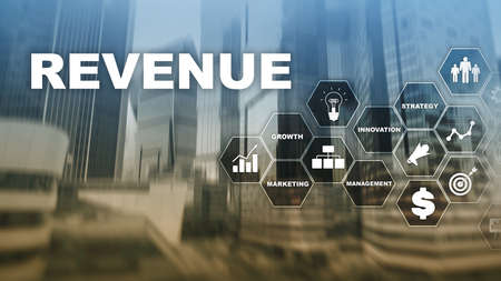 Increase revenue concept. Planing growth and increase of positive indicators in his business. Mixed media. Planning revenue growth Stockfoto