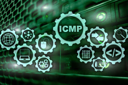 ICMP. Internet Control Message Protocol. Network concept. Server room on background. Stock Photo