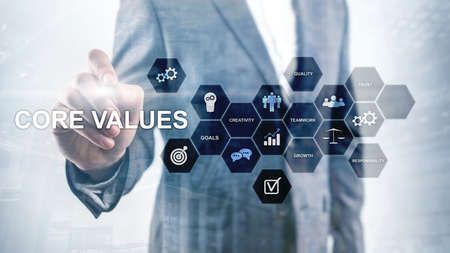 Core values concept on virtual screen. Business and finance solutions Imagens