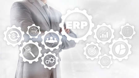 ERP system, Enterprise resource planning on blurred background. Business automation and innovation concept Stockfoto