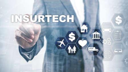 Insurance technology Insurtech concept. Inscription on a virtual screen