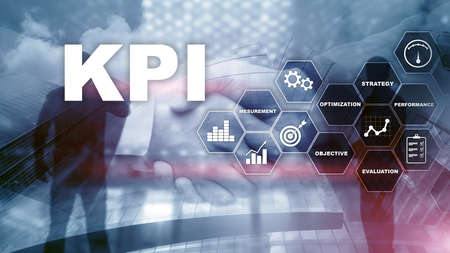 KPI - Key Performance Indicator. Business and technology concept. Multiple exposure, mixed media. Financial concept on blurred background Stockfoto - 129710625