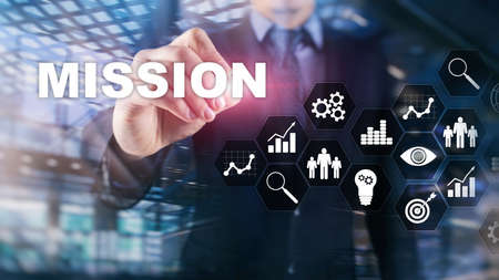 Mission business concept. Finacial success chart concept on virtual screen. Abstract business background Stockfoto