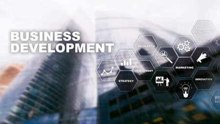 Business Development Startup Growth Statistics. Financial Plan Strategy Development Process Graphic Concept