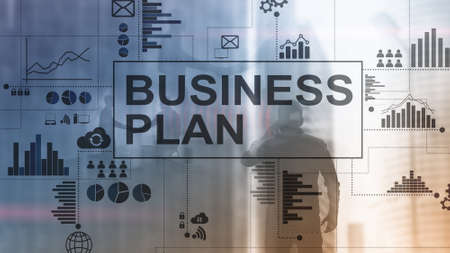 Double exposure Business plan and strategy concept. Stockfoto