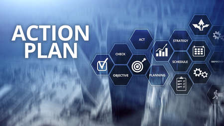 Action Plan Strategy Planning Vision Direction. Financial concept on blurred background Stockfoto - 129710741