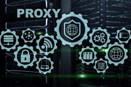 Proxy server. Cyber security. Concept of network security on virtual screen. Server room background