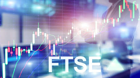 FTSE 100 Financial Times Stock Exchange Index United Kingdom UK England Investment Trading concept with chart and graphs Reklamní fotografie