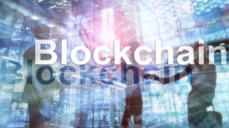 Data encryption. Blockchain Concept on server background