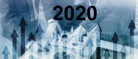 New 2020 year. Business presentation wallpaper. Corpotare concept
