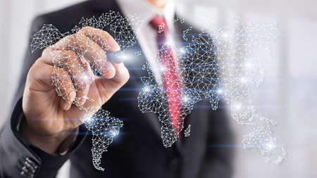 Global World Map Double Exposure Network. Telecommunication, International business Internet and technology concept. Фото со стока