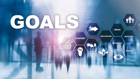 Target Goals Expectations Achievement Graphic Concept. Business development to success and growing growth. 写真素材