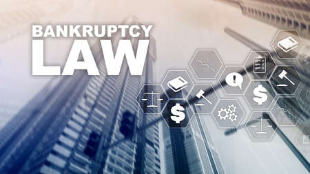 Bankruptcy law concept. Insolvency law. Judicial decision lawyer business concept. Mixed media financial background. Фото со стока