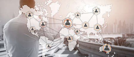 Social network with connected people 3D icons on map. Background for presentations.