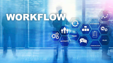 Automation of business workflows. Work process. Reliability and repeatability in technology and financial processes. Foto de archivo - 129924480