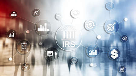 Internal Revenue Service. IRS Ministry of Finance. Abstract Business background. Stock Photo