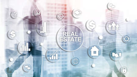 Real estate. Property insurance and security concept. Abstract business background.