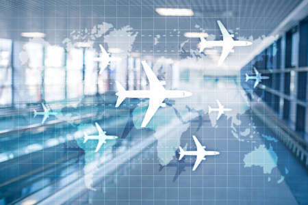 World map with flight routes airplanes. Global Aviation Business Tourism. Double exposure background. 写真素材