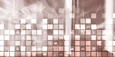 Digital abstract background pixelated icons blurred modern server room. Technology telecommunication Iot internet of thing concept